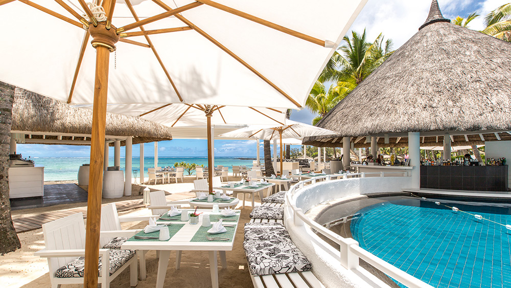 Outdoor dining terrace at Lakaze Restaurant at Constance Belle Mare Plage