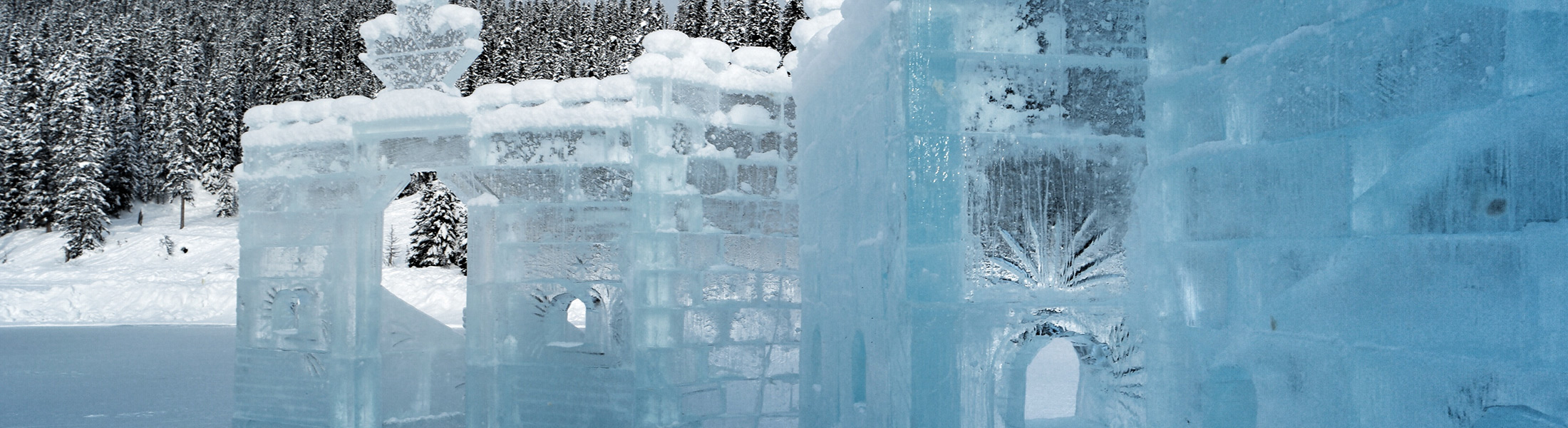 Ice sculptures on Lake Louise