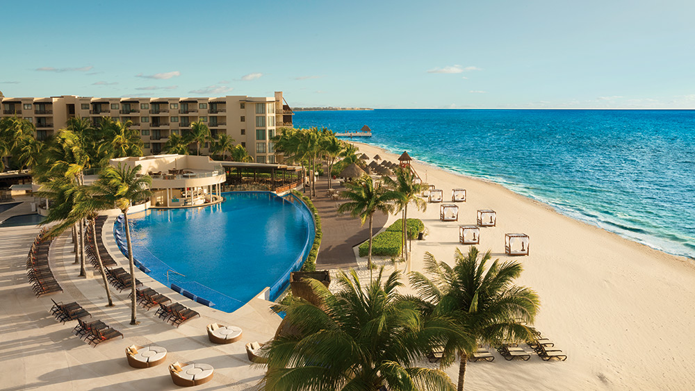 Aerial view of the main pool at Dreams Riviera Cancun