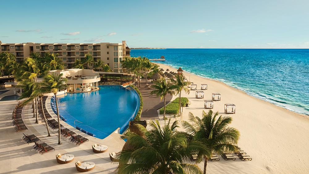 Aerial view of the main pool at Dreams Riviera Cancun