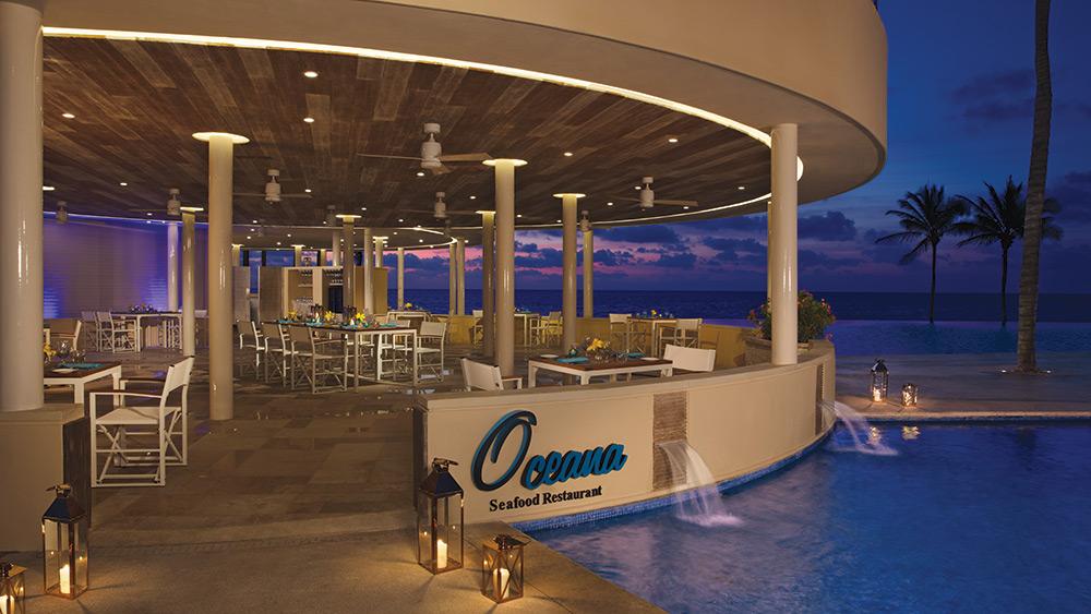 Oceana Restaurant at sunset at Dreams Riviera Cancun