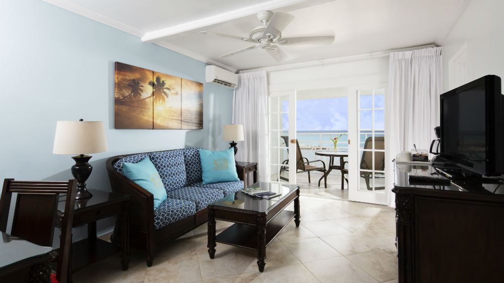 Oceanview living room at The Club, Barbados Resort & Spa