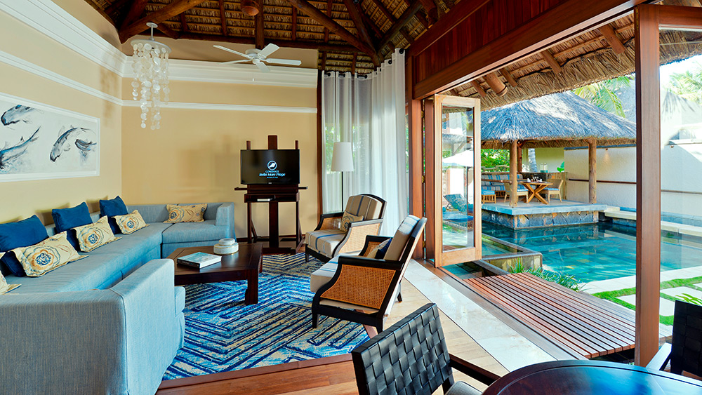 Living area of the Pool Villa at Constance Belle Mare Plage