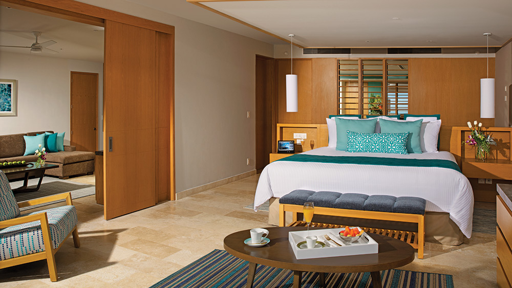 Bedroom of the Preferred Club Family Suite Ocean View at Dreams Playa Mujeres