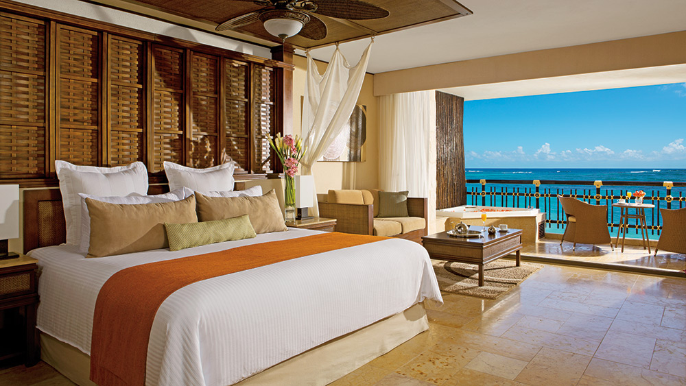 Bedroom of the Preferred Club Ocean Front Honeymoon Suite at Dreams Riviera Cancun