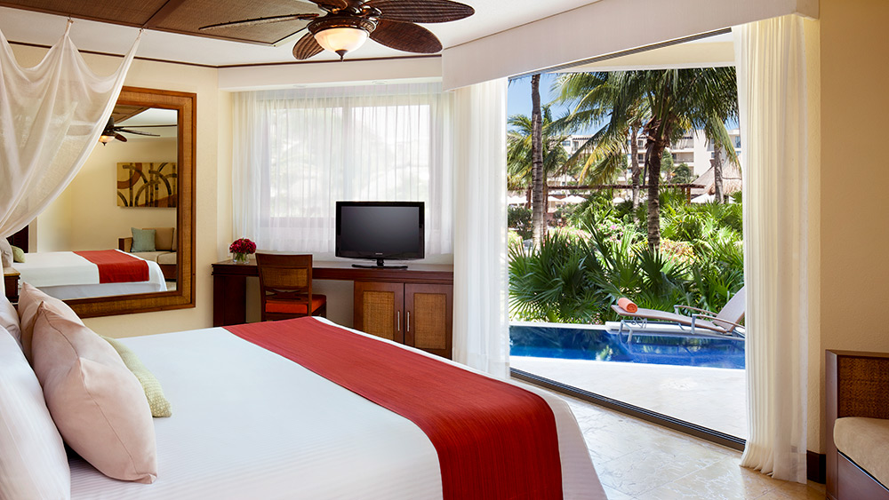 Bedroom of the Preferred Club with Plunge Pool at Dreams Riviera Cancun