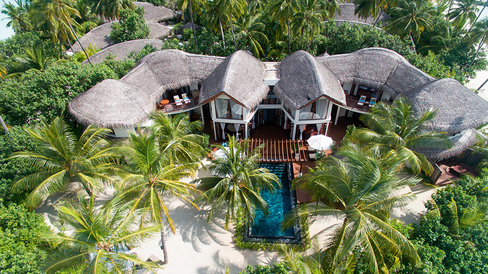Aerial view of the Presidential Villa at Constance Halaveli