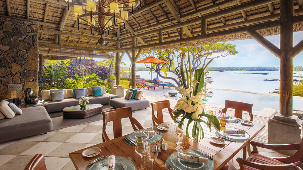 Outdoor beachfront terrace of the Princely Villa at Constance Prince Maurice