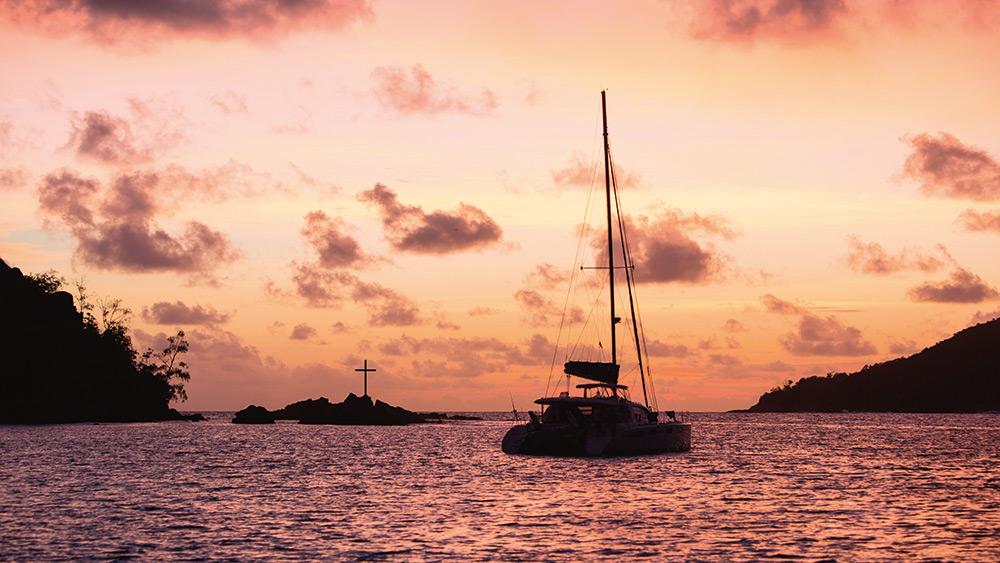 Catamaran at sunset at Constance Ephelia