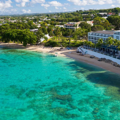 Aerial shot of the Waves Hotel & Spa by Elegant Hotels