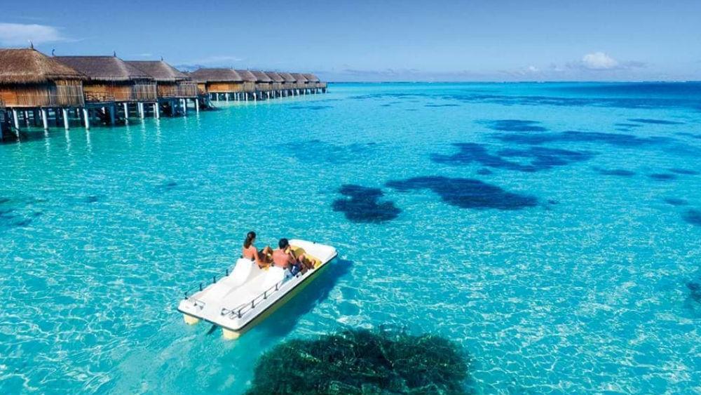 Pedal boat at the Constance Moofushi Maldives