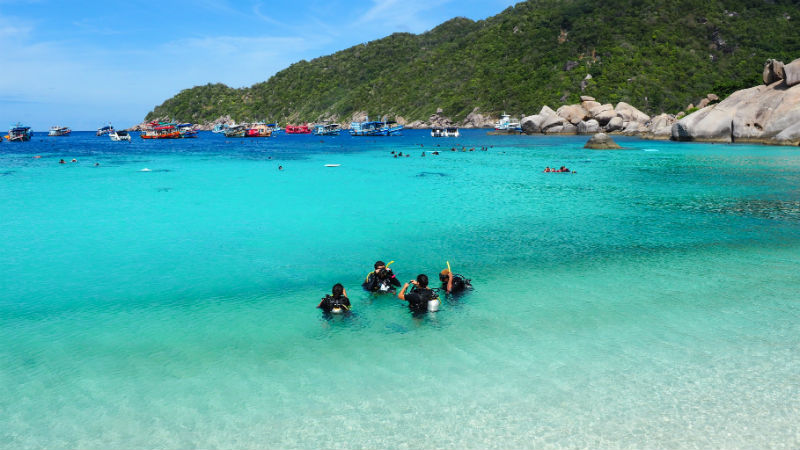 Scuba divers in the water in Koh Tao