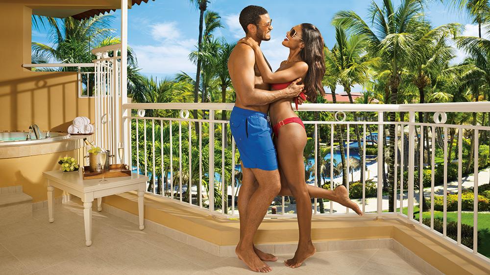 Couple on teh balcony at Dreams Punta Cana