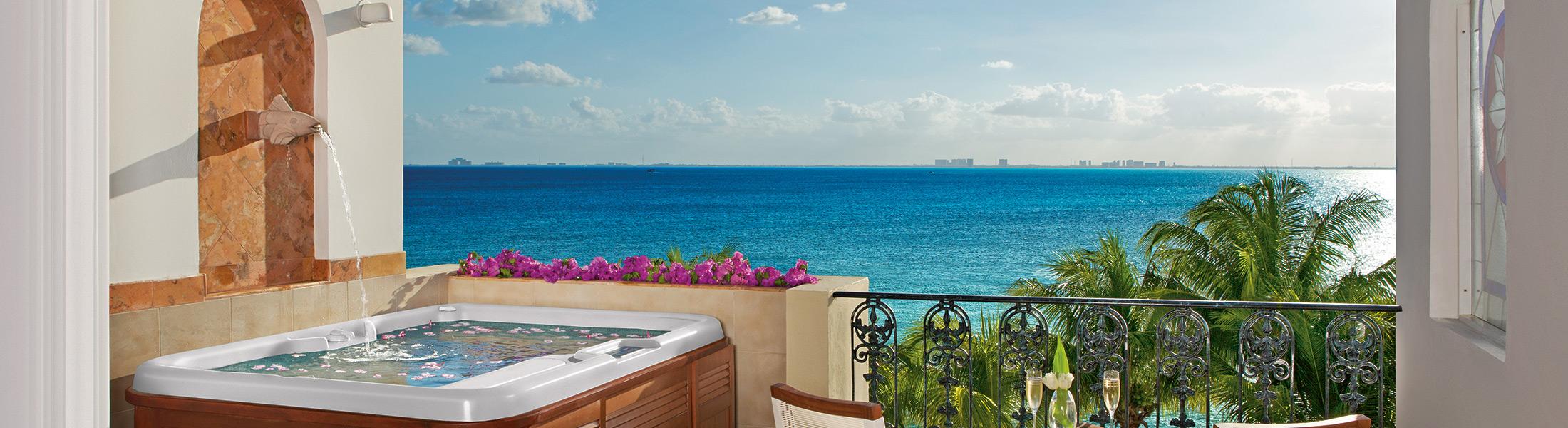 Jucuzzi on a balcony at Zoetry Villa Rolandi Isla Mujeres