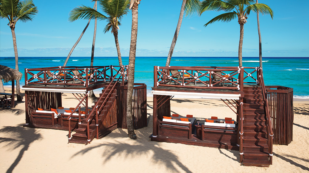 Two story beach lounge at Dreams Punta Cana