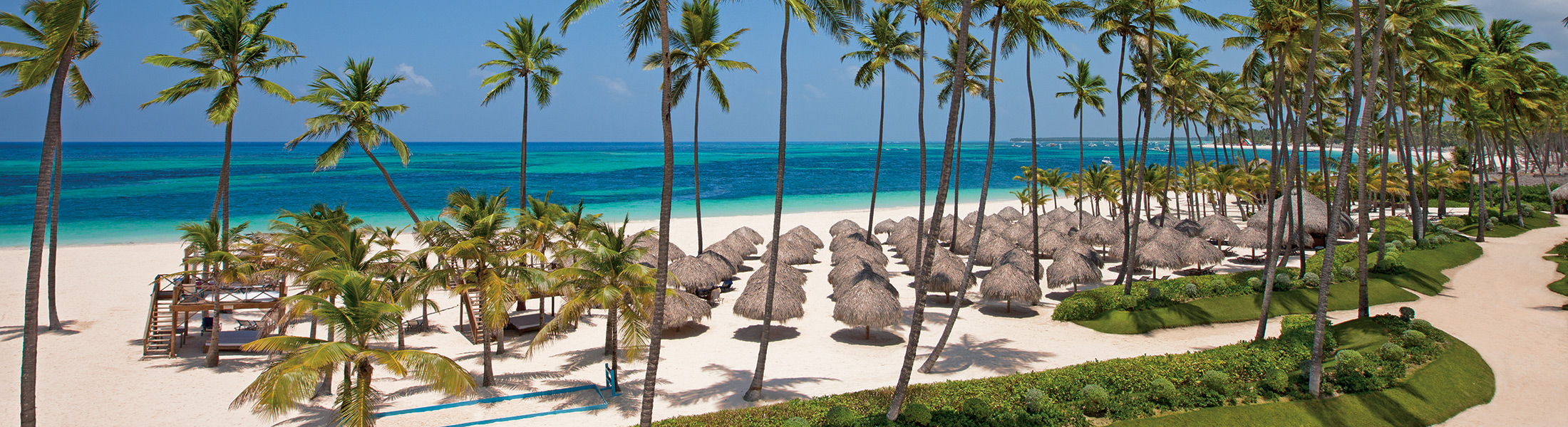 Palm trees and sun loungers on the beach at Secrets Royal Beach
