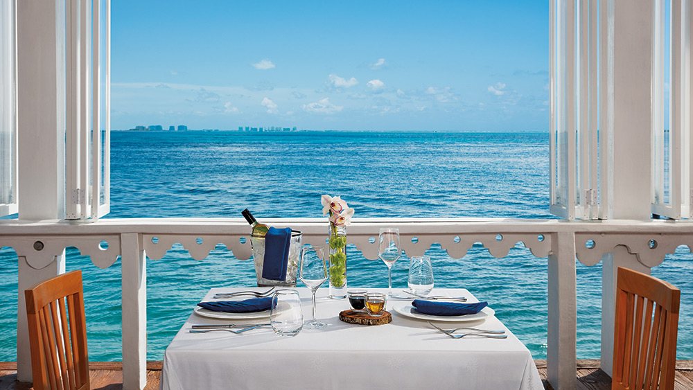 Dining with an ocean view at Zoetry Villa Rolandi Isla Mujeres
