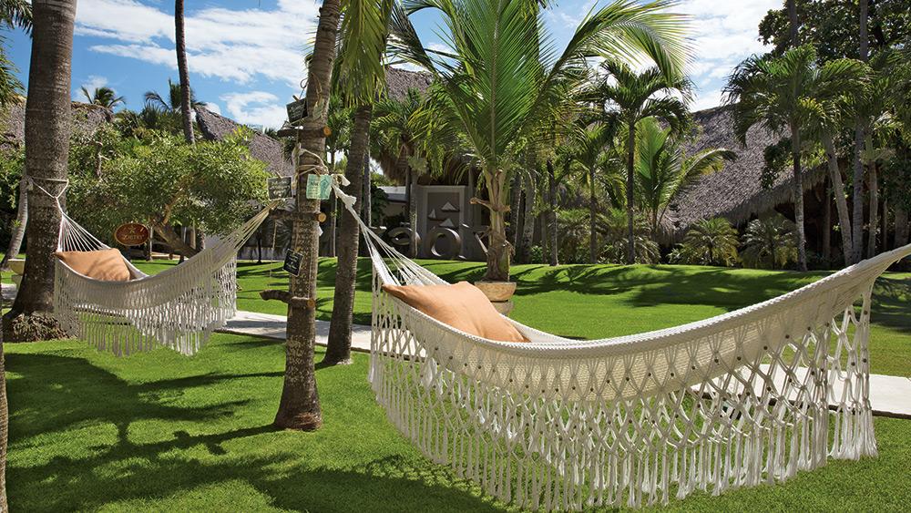 Hammocks between palm trees at Zoetry Agua Punta Cana