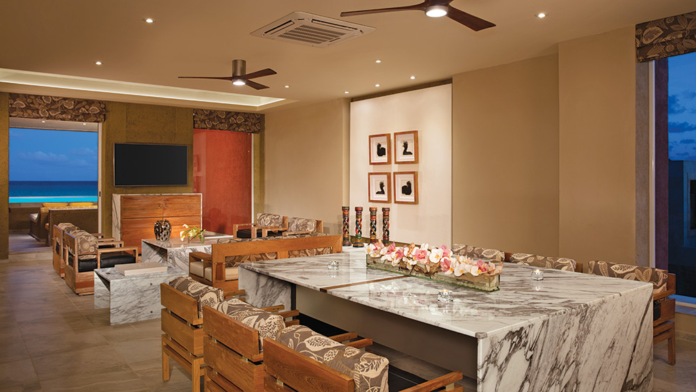 Dining room of the Impression Ocean Front Two Bedroom Presidential Suite with Plunge Pool at Zoetry Paraiso de la Bonita