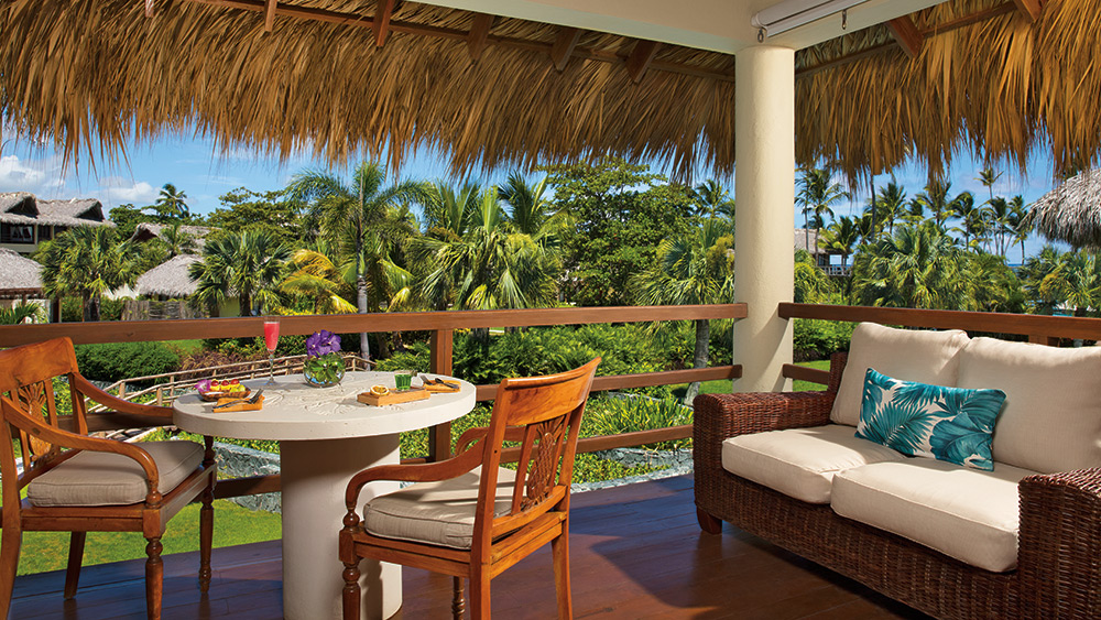 Balcony of the Junior Suite Garden View at Zoetry Agua Punta Cana