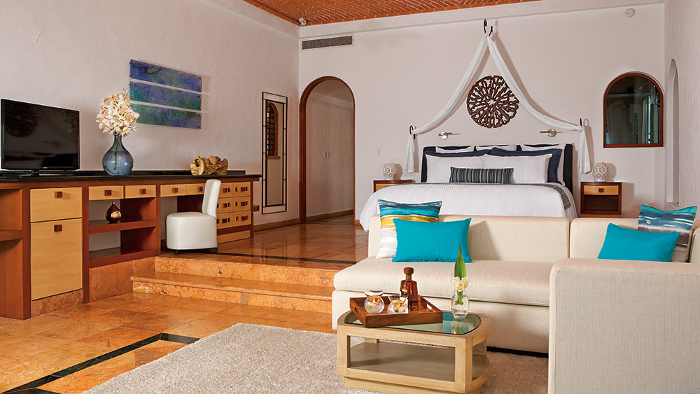 Bedroom of the Junior Suite Supier Ocean Front at - Zoetry Villa Rolandi Isla Mujeres