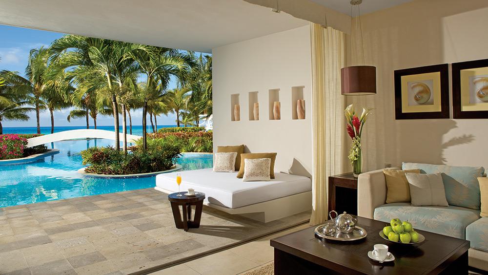Terrace of the Junior Suite Swim Up Ocean View at Secrets Aura Cozumel