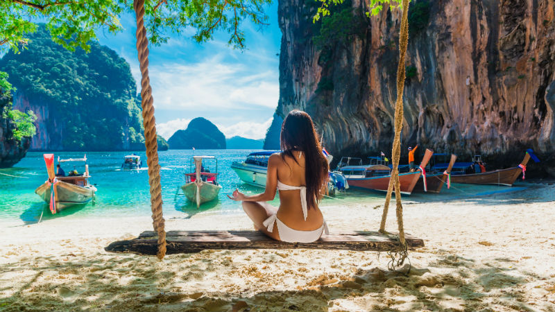 Krabi woman on beach