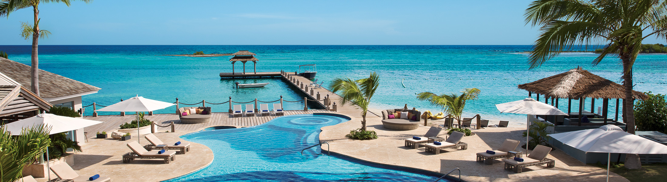 Aerial view of the infinity pool at Zoetry Montego Bay