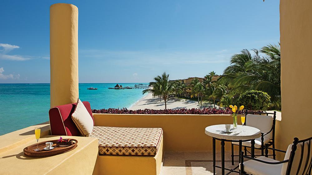 Balcony of the Ocean Front One Bedroom Suite with Terrace at Zoetry Paraiso de la Bonita