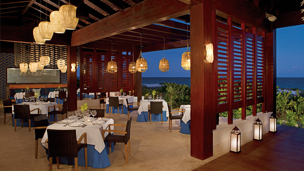 Open air dining in Oceana Restaurant at Secrets Playa Mujeres