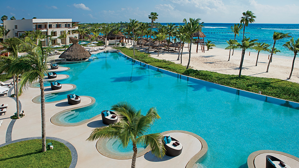 Aerial view of the Oceanfront pool at Secrets Akumal