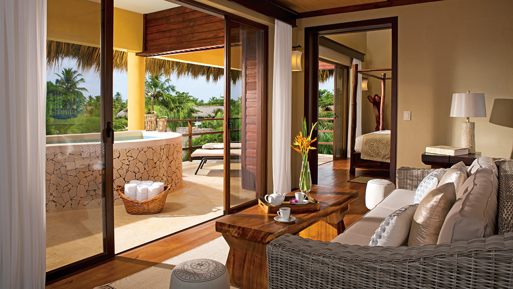 Living room of the Penthouse Suite Ocean View at Zoetry Agua Punta Cana