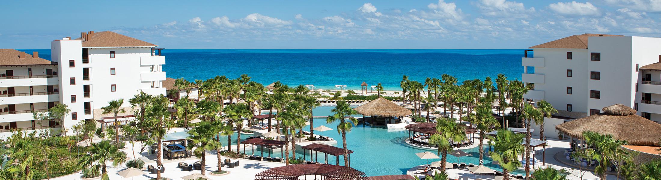 Aerial view of the resort pools at Secrets Playa Mujeres