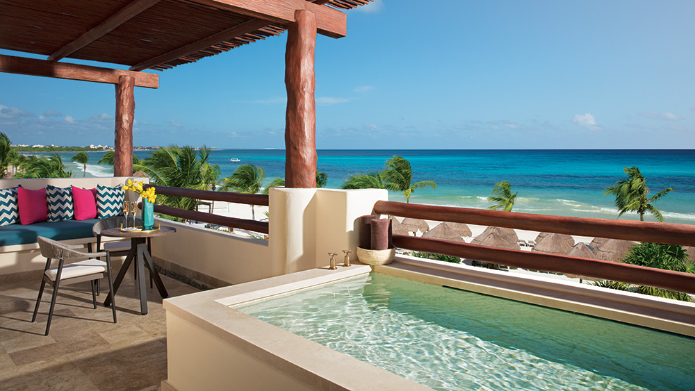 Private plunge pool on the balcony of the Preferred Club Honeymoon Suite at Secrets Maroma Beach Riviera