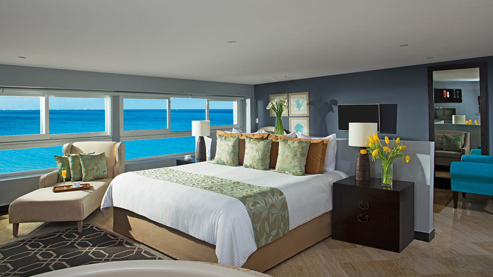Bedroom of the Preferred Club Junior Suite at Dreams Sands Cancun