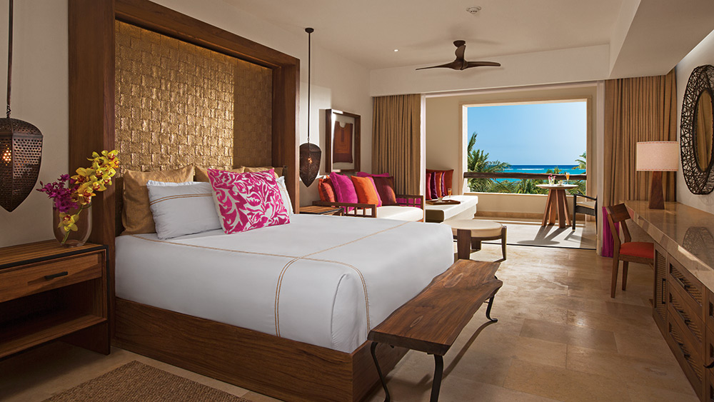 Bedroom of the Preferred Club Junior Suite Ocean View at Secrets Akumal