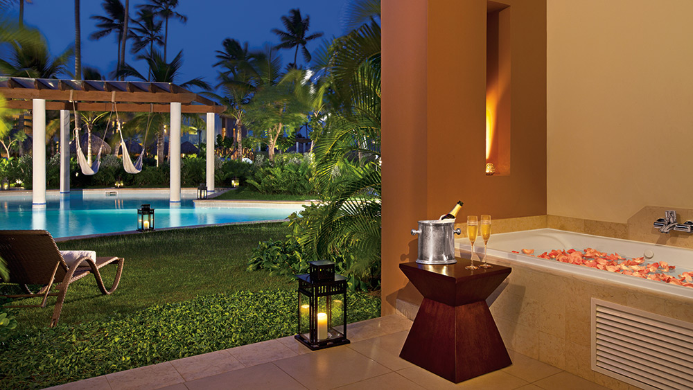 Terrace of the Preferred Club Junior Suite Swim Up at Secrets Royal Beach Punta Cana