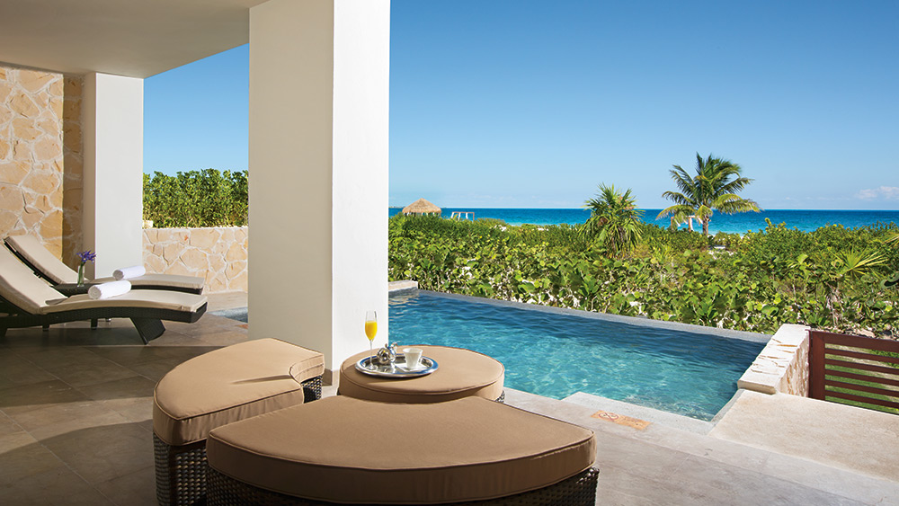 Terrace with Private pool in the Preferred Club Master Suite Ocean Front at Secrets Playa Mujeres