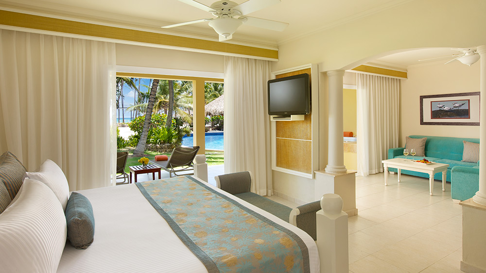 Bedroom of the Preferred Club Master Two Bedroom Suite with Tropical or Partial Ocean Views at Dreams Punta Cana
