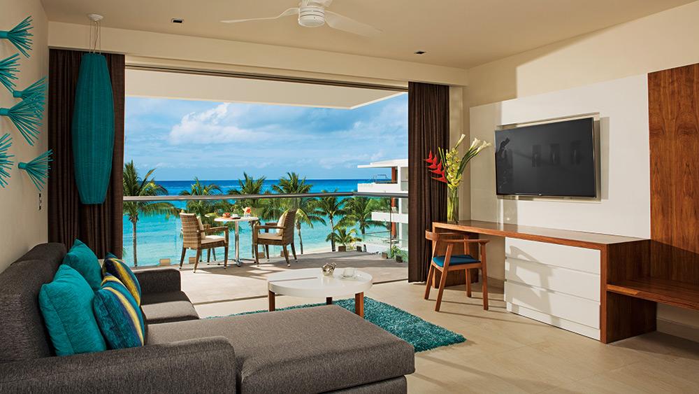 Sitting area of the Preferred Club Superior Junior Suite Ocean View at Secrets Aura Cozumel