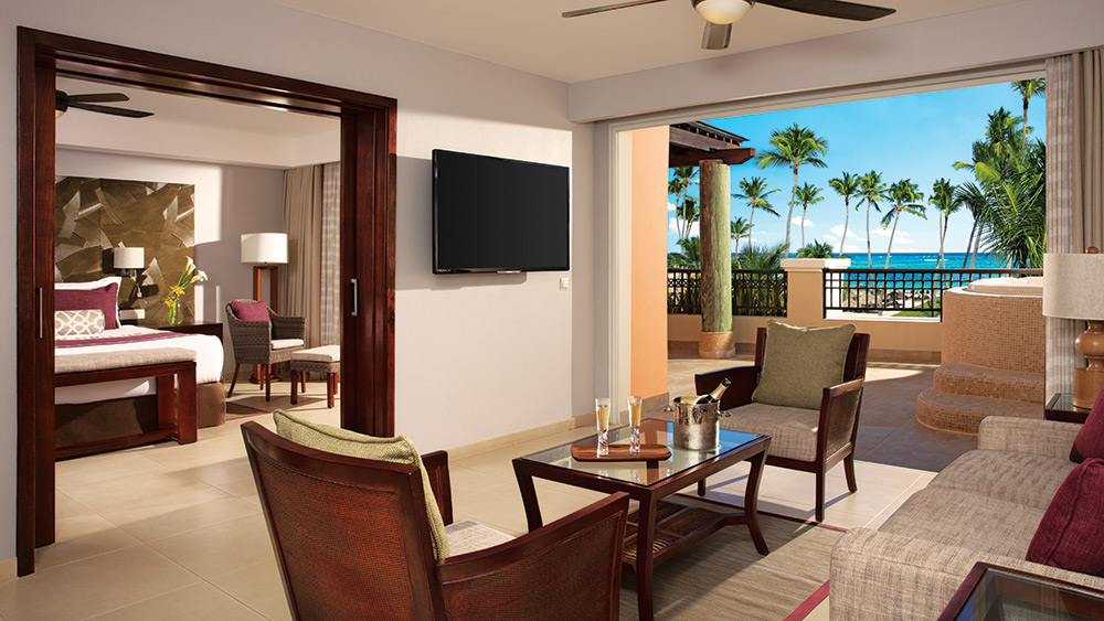 Living room of the Preferred Club Master Suite at Secrets Royal Beach Punta Cana