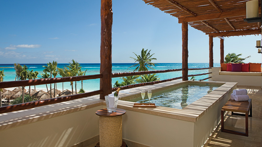 Balcony with private pool in the Presidential Suite at Secrets Akumal
