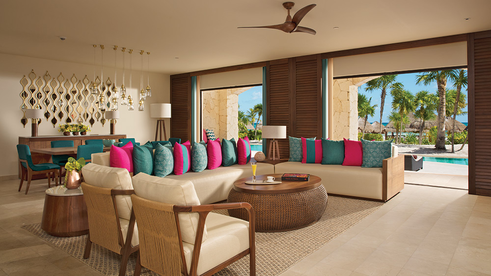 Living room of the Presidential Suite Swim Out at Secrets Maroma Beach Riviera