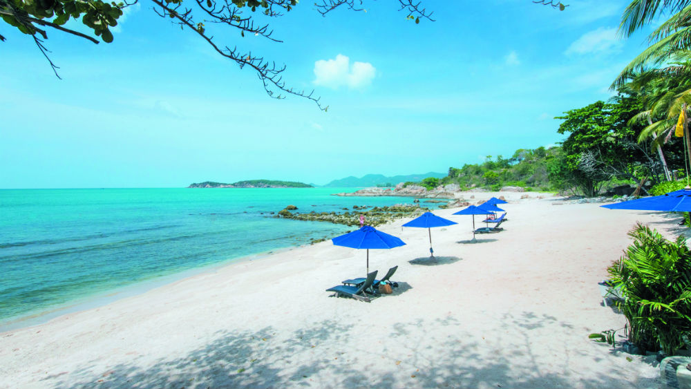 Private resort Beach at the Outrigger koh samui beach resort