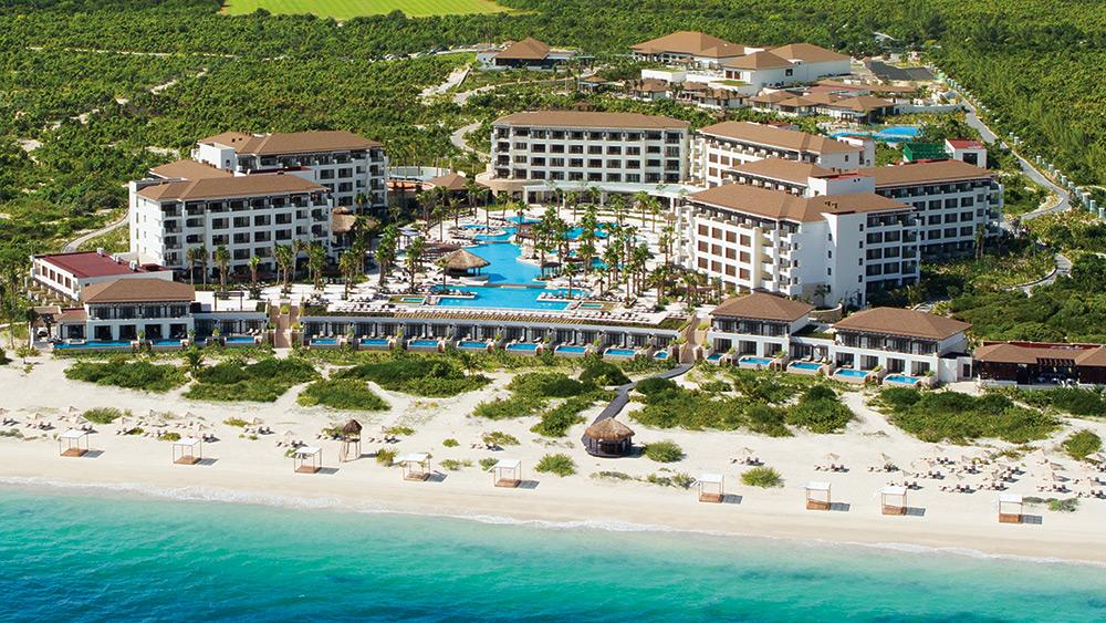 Aerial view of the pool & resort at Secrets Playa Mujeres