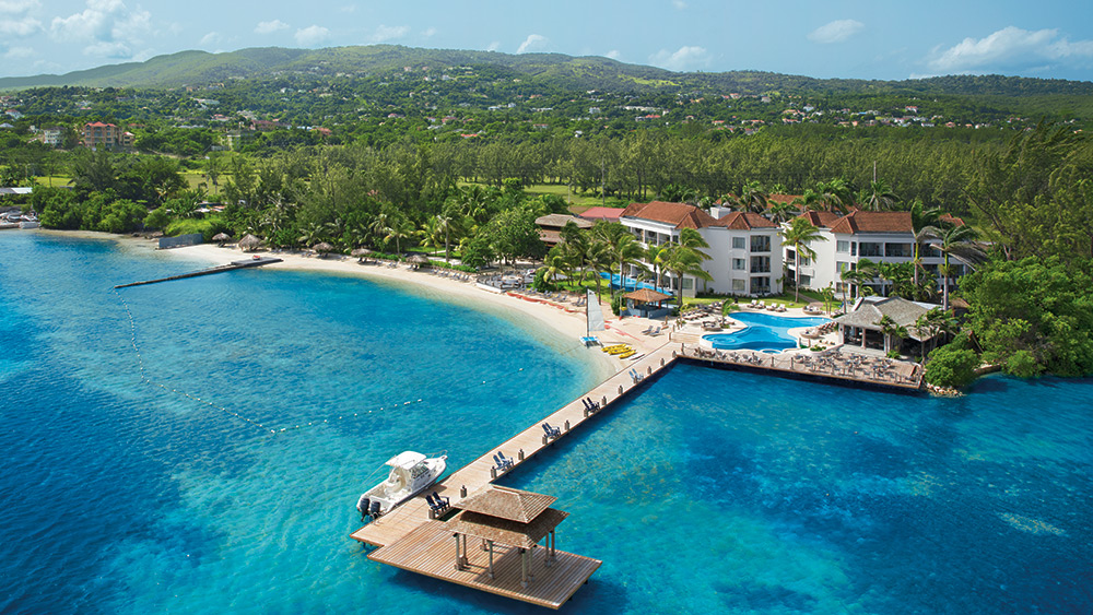 Aerial view of the resort and jetty at Zoetry Montego Bay