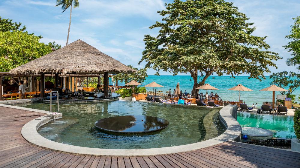 Resort pool at the Outrigger koh samui beach resort