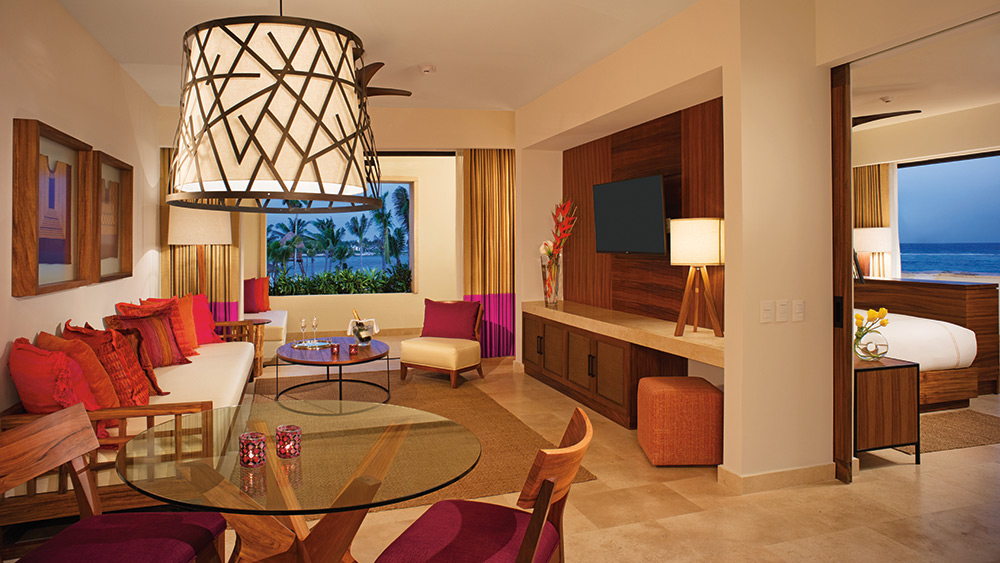 Living room of the Romance Master Suite Ocean View at Secrets Akumal