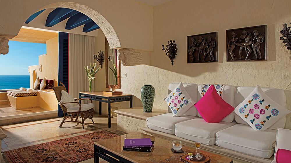 Living room of the Romance Ocean Front Lover Suite at Zoetry Paraiso de la Bonita