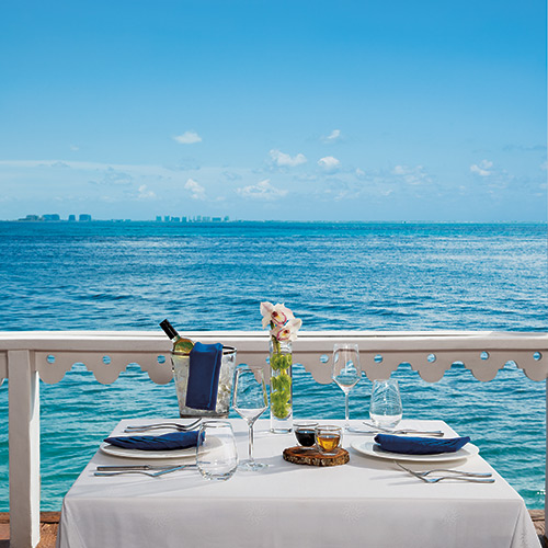 Ocean view dining at Zoetry Villa Rolandi Isla Mujeres